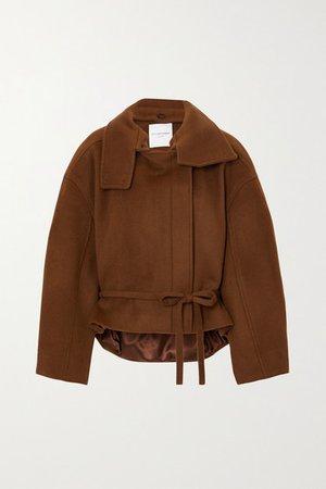 Belted Wool Coat - Brown