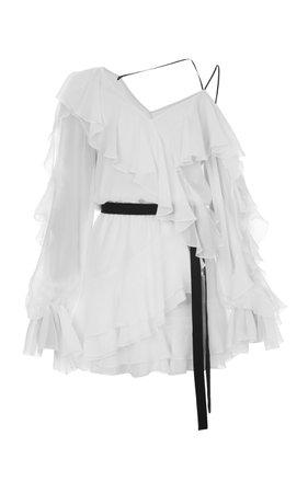 ELENAREVA Chiffon Ruffle Mini Dress