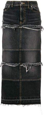tiered denim long skirt