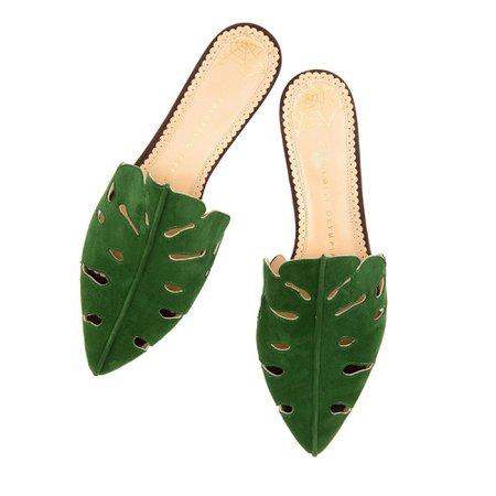 Charlotte Olympia | Amazonia Monstera leaf slippers