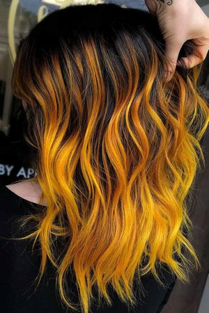 black hair with yellow and orange highlights - Google Search