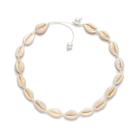Amazon.com: HSWE Pearls Cowrie Shell Choker Necklace for Women Sea Shell Necklace Adjustable Cord Rope Hemp Collar Necklace Handmade Boho Hawaiian Beach Summer Jewelry (White#1): Gateway
