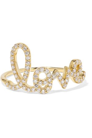 Sydney Evan | Large Love 14-karat gold diamond ring | NET-A-PORTER.COM