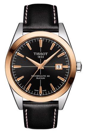 Tissot Gentleman Powermatic 80 Leather Strap Watch, 40mm | Nordstrom
