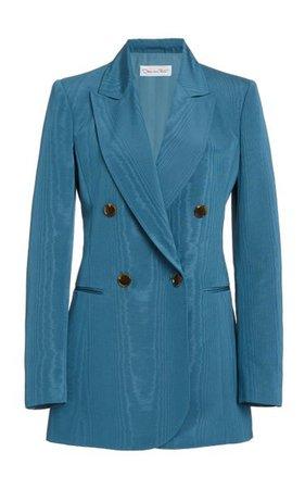 Moiré Cotton-Blend Double-Breasted Blazer By Oscar De La Renta | Moda Operandi