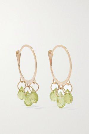 Gold 14-karat recycled gold peridot hoop earrings | Melissa Joy Manning | NET-A-PORTER