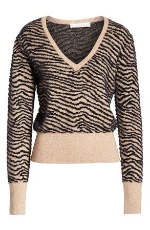 ASTR the Label Tiger Stripe V-Neck Sweater brown