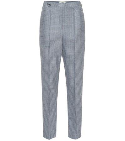 Wool-blend straight pants