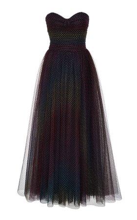 Monique Lhuillier Rainbow Ruched Tulle Dress
