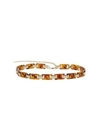 MANGO Tortoiseshell chain belt