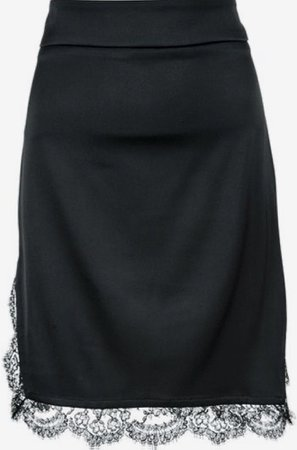 farfetch black lace trim skirt silk midi