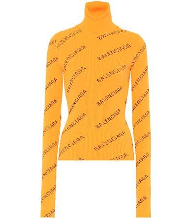 Logo-knit turtleneck sweater