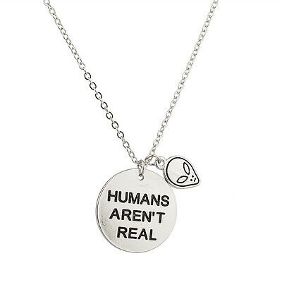 Lux Accessories Alien Head Humans Aren't Real They Exist Pendant Necklace. | eBay
