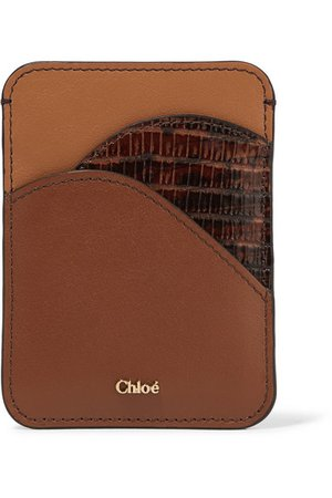 Chloé | Color-block leather cardholder | NET-A-PORTER.COM