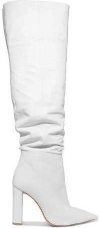 Anna Leather Knee Boots - White