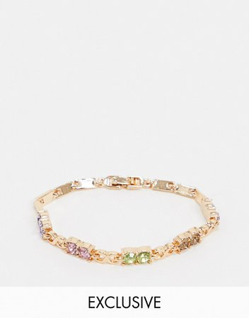Reclaimed Vintage inspired gold bracelet with colored stones | ASOS