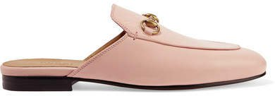 Princetown Horsebit-detailed Leather Slippers - Blush