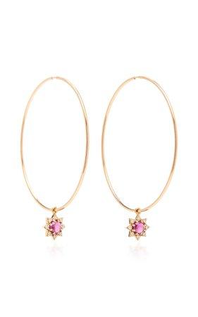 M.Spalten 18K Rose Gold Garnet And Diamond Earrings