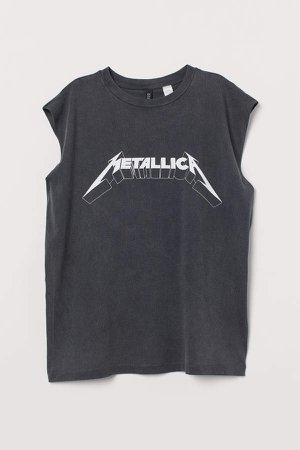Raw-edged Sleeveless T-shirt - Black