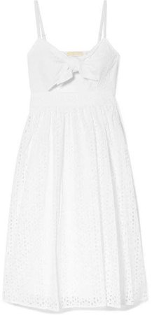 Knotted Cutout Broderie Anglaise Cotton-voile Dress - White