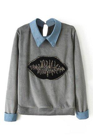 Lip Appliqued Rolled Grey Sweatshirt