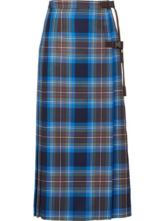 Prada Plaid Pleated Skirt - Farfetch
