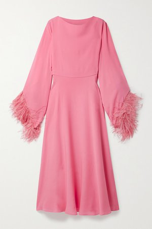 Feather-trimmed Silk-crepe Midi Dress - Pink