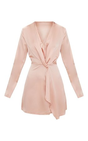 Pretty Little Thing | Nude Satin Long Sleeve Wrap Dress