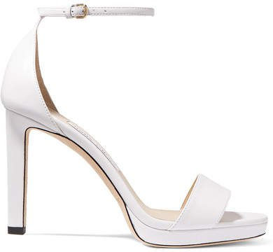 Misty 100 Leather Platform Sandals - White