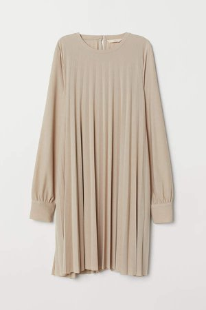 Pleated Dress - Beige