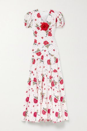 Embellished Printed Silk-crepe Maxi Dress - Red
