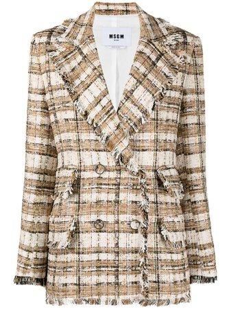 MSGM double-breasted Tweed Blazer - Farfetch