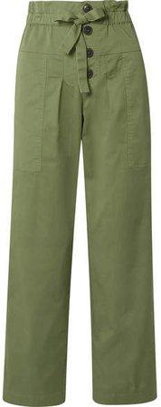 Tula Cotton-blend Twill Straight-leg Pants - Army green
