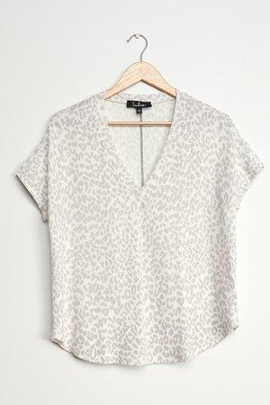 Cute Leopard Top - White Leopard T-Shirt - Oversized Lounge Tee