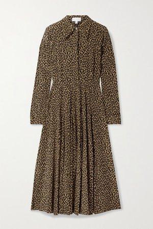 Leopard-print Silk Crepe De Chine Shirt Dress - Leopard print
