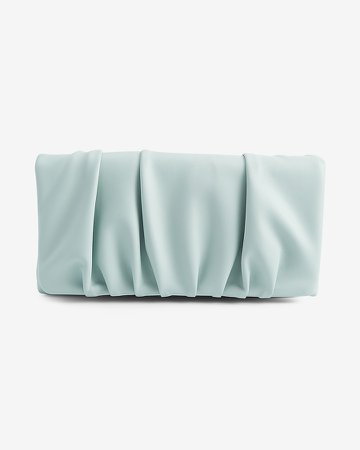 Ruched Vegan Leather Clutch
