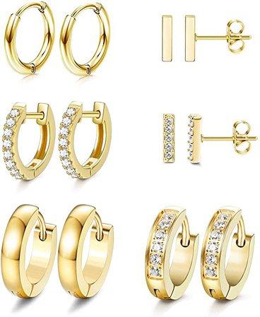 Amazon.com: JOERICA 6 Pairs Hoop Huggie Earrings for Women Girls Minimalist Cuff Mini Bar Stud Earrings Gold Silver Cubic Zirconia Small Ear Piercing Set (Gold): Jewelry