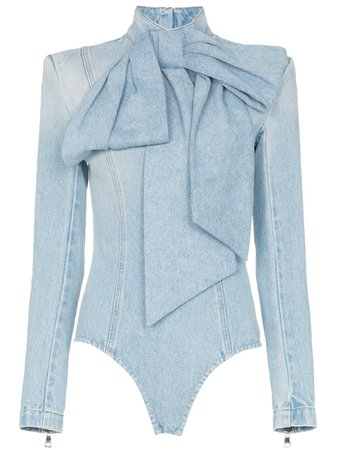 Balmain Pussybow Denim Bodysuit - Farfetch