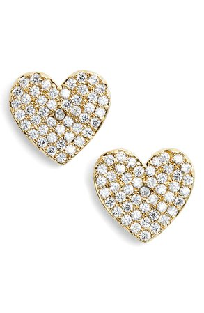 kate spade new york yours truly pave heart stud earrings | Nordstrom