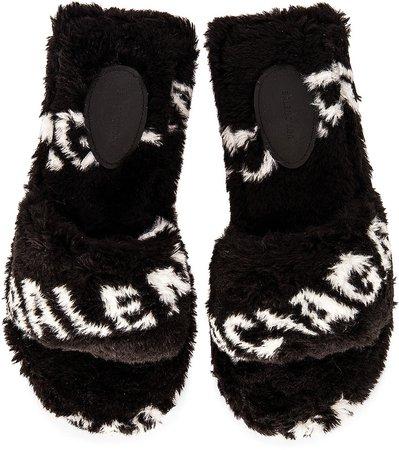 Fluffy Sandals in Black & White | FWRD