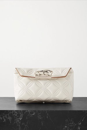 Quilted Leather Clutch - Ivory