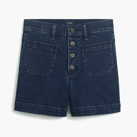 Button-fly denim short with patch pockets