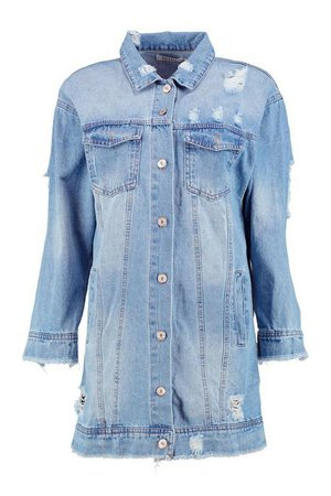 Distressed Longline Denim Jacket Blue