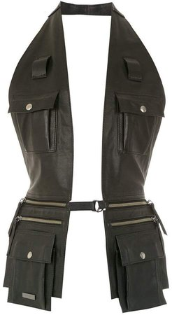 Mara Mac leather vest with multiple pockets