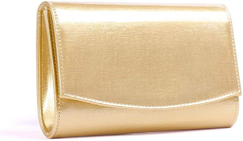 Women Patent Leather Wallets Fashion Clutch Purses, WALLYN'S Evening Bag Handbag Solid Color (Light Gold): Handbags: Amazon.com