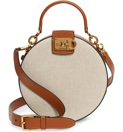 Salvatore Ferragamo The Studio Round Canvas & Leather Shoulder Bag