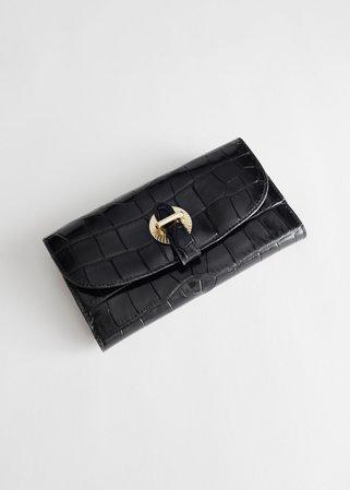 Croc Leather Pendant Wallet - Black - Wallets - & Other Stories