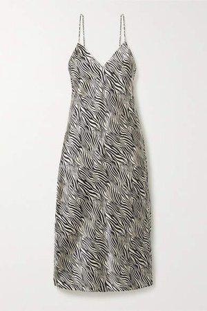 The Raven Zebra-print Silk-charmeuse Midi Dress - Black