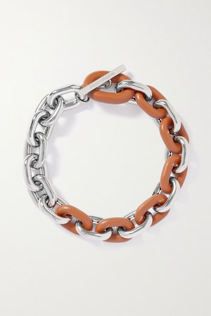 Silver Silver-tone and leather necklace | Paco Rabanne | NET-A-PORTER