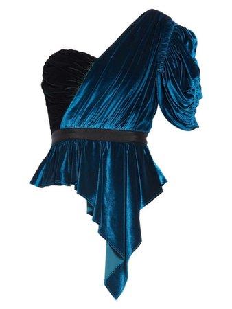 Bicolor One Shoulder Velvet Top